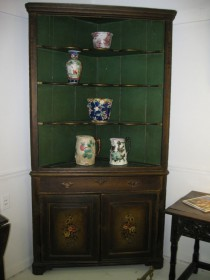 19th C Painted Corner Cupboard