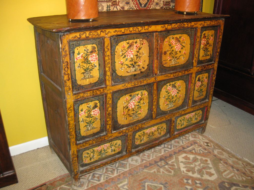 E 19th C Painted Tibetan Chest Sold