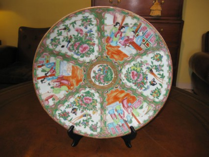 Mid 19th C Rose Medallion Charger