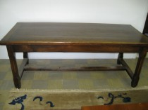 19th c Elm Trestle Table