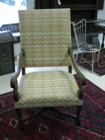 19th c Upholstered Armchair