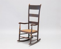 late 18th c American Painted High Back Rocker