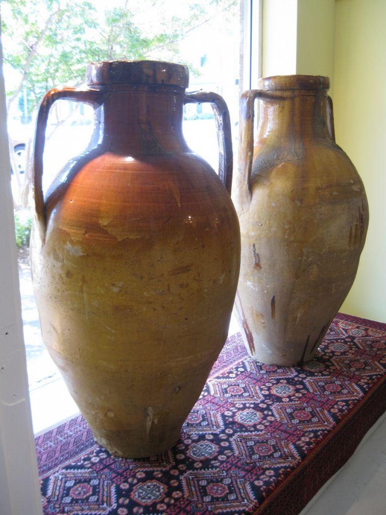Pair Of 19th C Italian Olive Jars Sold