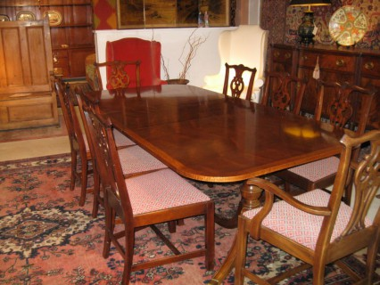 Chippendale-Style Mahogany Table with 8 Chairs   SOLD