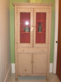 19th c New England Painted Cupboard