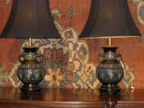 Pair of Champleve Lamps