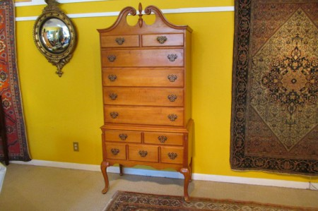 Chippendale-Style Tiger Maple Highboy