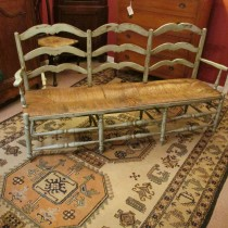 Painted French Bench with rush seat
