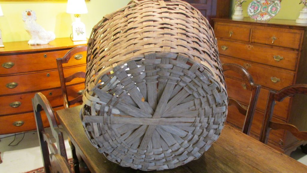 19th C Oak Cotton Picking Basket