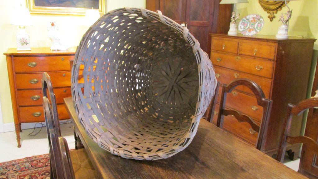 19th C Oak Cotton Picking Basket
