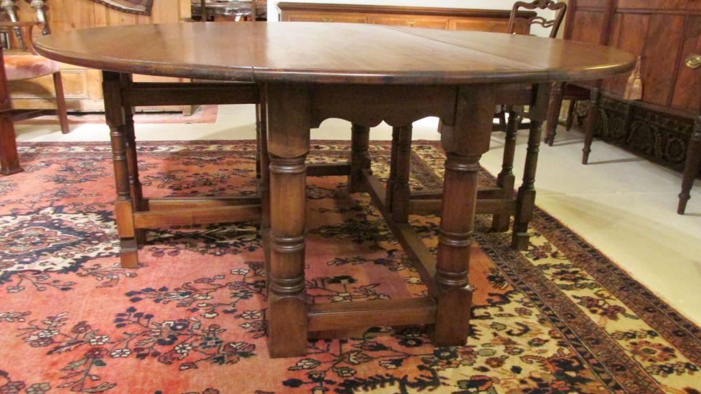 English Walnut Gateleg Dining Table   SOLD