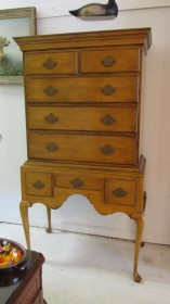 Tiger Maple Highboy by Baker Funiture Co