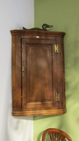 18th c American Oak Hanging Cupboard