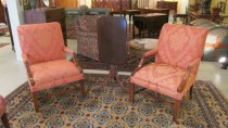 Pair of Chippendale-Style Upholstered Armchairs