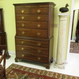 18th c Chippendale Mahogany Chest on Chest
