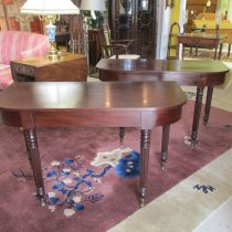 Pair of 19th c Mahogany Demi Lune Tables