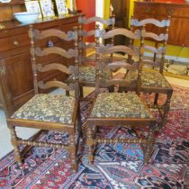 Set of 6 19th c English Oak Dining Chairs