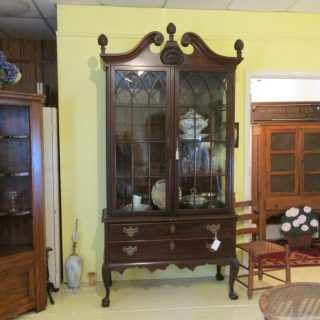 19th c Mahogany Chippendale-style Vitrine Cabinet
