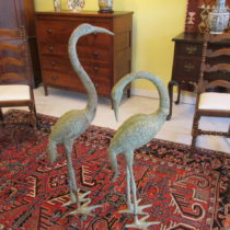 Pair of 19th c Bronze Cranes