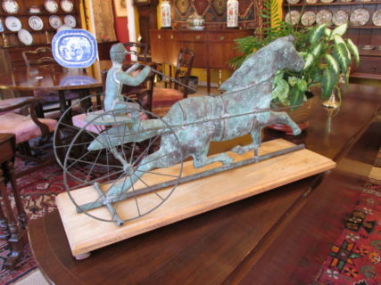 19th c Copper Sulky & Horse Weathervane  SOLD