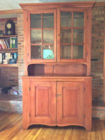 18th c American  Pine Stepback Cupboard