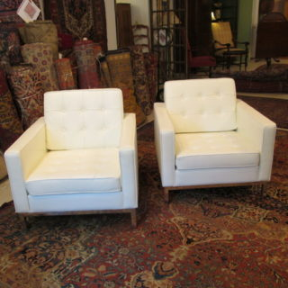 Pair of White Leather Armchairs
