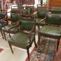 Set of 10 Leather Stickley Armchairs