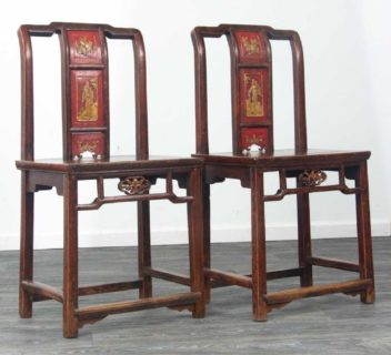 Pair of 19thc Elm Chinese Chairs