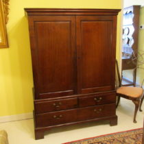 19th c Mahogany English Linen Press