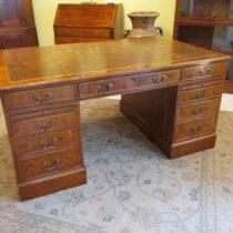 English Yew Wood Pedestal Desk