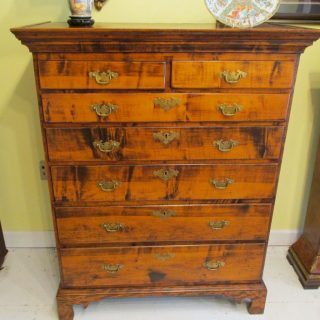 18th c American Figured Maple Chest of Drawers