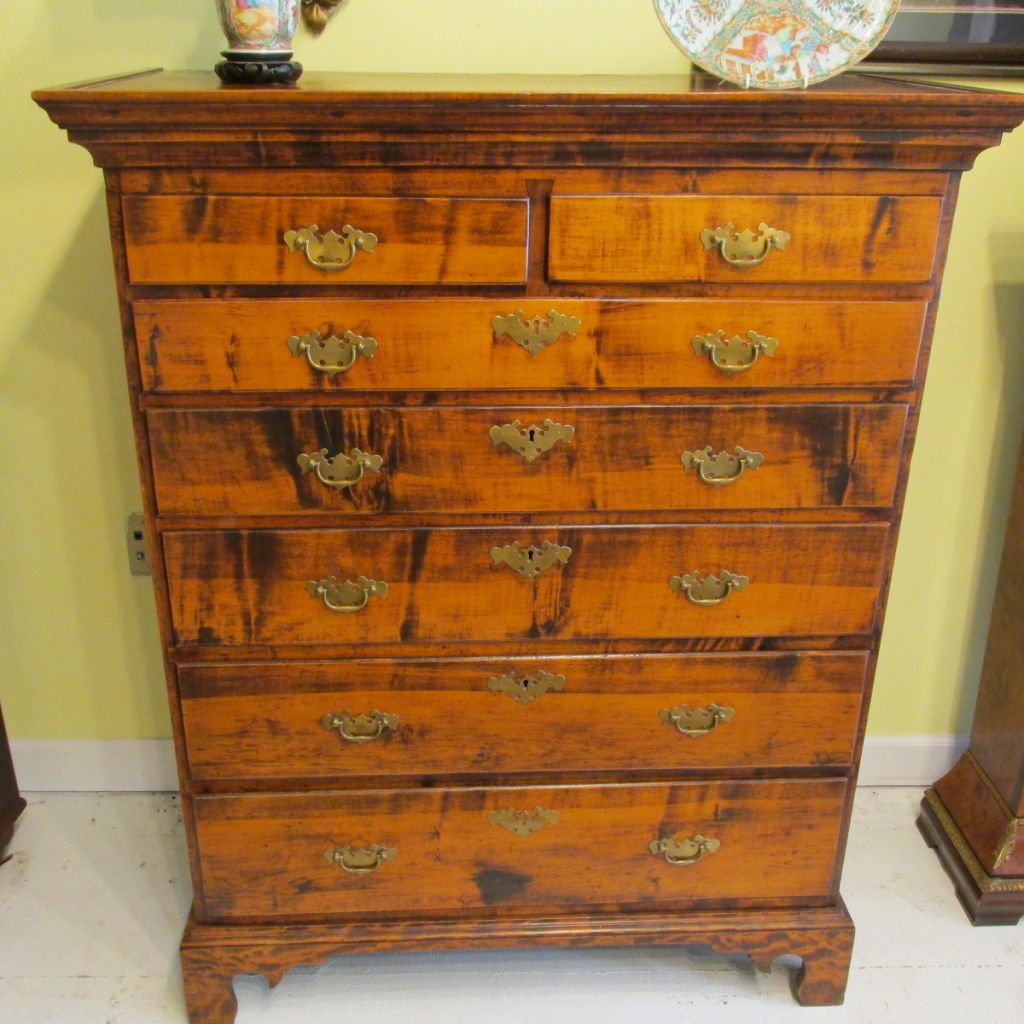 18th c American Figured Maple Chest of Drawers  SOLD