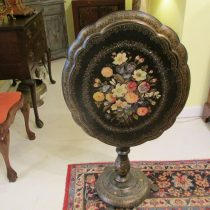 19th c English Papier-Mache Tilt-Top Table