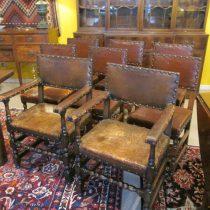 18th c Set of 8 Walnut Flemish baroque Chairs
