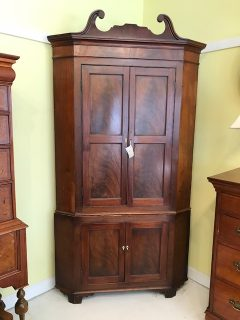 18th c English Burl Mahogany Corner Cupboard