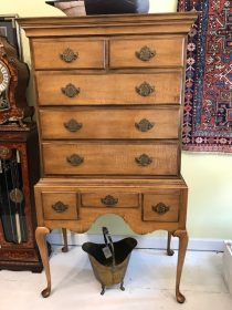 Tiger Maple Highboy By Baker Furniture Co
