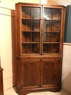 18th c American Walnut Corner Cupboard