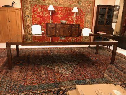 Henredon Mahogany Glass Top Dining Table