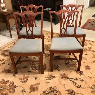 Set of Four 19th c Walnut Dining Chairs