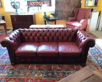 Mid 20th c English Leather Chesterfield Sofa   SOLD