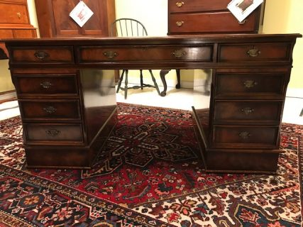 Mid 20th c Leather Top Partners Desk   SOLD