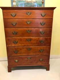 18th c American Cherry Chippendale Tall Chest