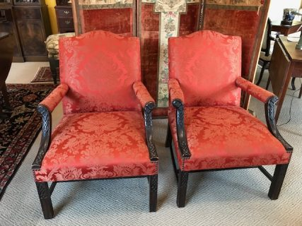 Pair of Early English Upholstered Armchairs     SOLD