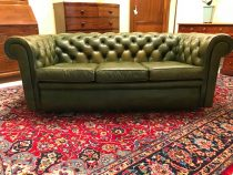 Early 20th c English Chesterfield Green Leather Sofa