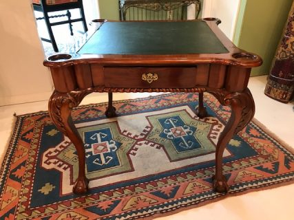 Mahogany Leather Top Game Table