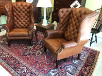 English George III-Style Leather Wingback Chairs