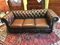 Mid 20th c English Leather Chesterfield Sofa
