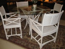 Mid 20th c Rattan glass top table   SOLD