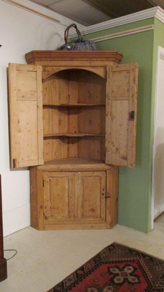Mid 19th C English Pine Corner Cupboard Sold