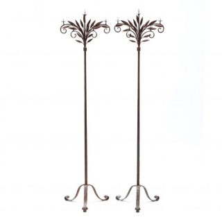 19th c American Tall Iron Torchiere